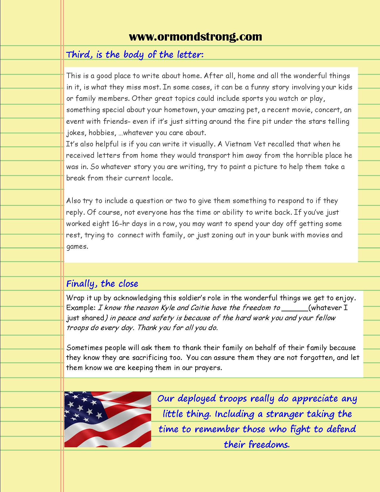 How to write a letter to a deployed soldier page 2 www letters to soldiers format page 2 expocarfo